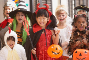 Trick or treaters for candy crawl